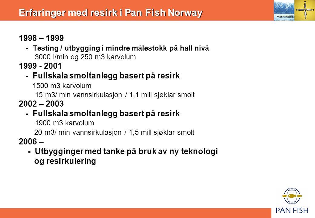 Erfaringer med resirk i Pan Fish Norway 1998 – 1999 - Testing / utbygging i mindre målestokk på hall nivå 3000 l/min og 250 m3 karvolum 1999 - 2001 - Fullskala smoltanlegg basert på resirk 1500 m3 karvolum 15 m3/ min vannsirkulasjon / 1,1 mill sjøklar smolt 2002 – 2003 - Fullskala smoltanlegg basert på resirk 1900 m3 karvolum 20 m3/ min vannsirkulasjon / 1,5 mill sjøklar smolt 2006 – - Utbygginger med tanke på bruk av ny teknologi og resirkulering