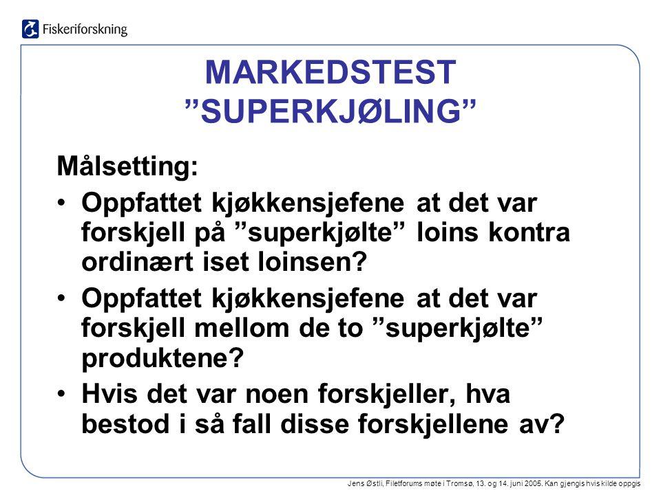 """Jens Østli, Filetforums møte i Tromsø, 13. og 14. juni 2005. Kan gjengis hvis kilde oppgis MARKEDSTEST """"SUPERKJØLING"""" Målsetting: Oppfattet kjøkkensje"""