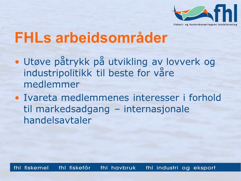 FHLs arbeidsområder Utøve påtrykk på utvikling av lovverk og industripolitikk til beste for våre medlemmer Ivareta medlemmenes interesser i forhold til markedsadgang – internasjonale handelsavtaler