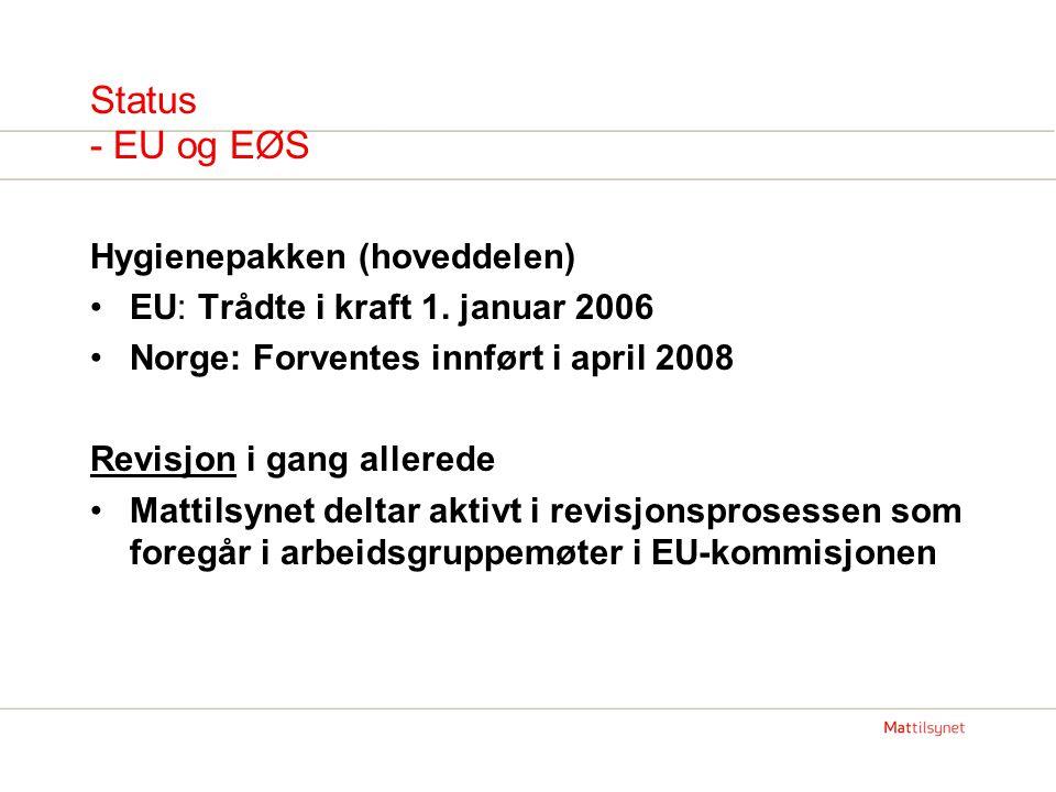 Status - EU og EØS Hygienepakken (hoveddelen) EU: Trådte i kraft 1.