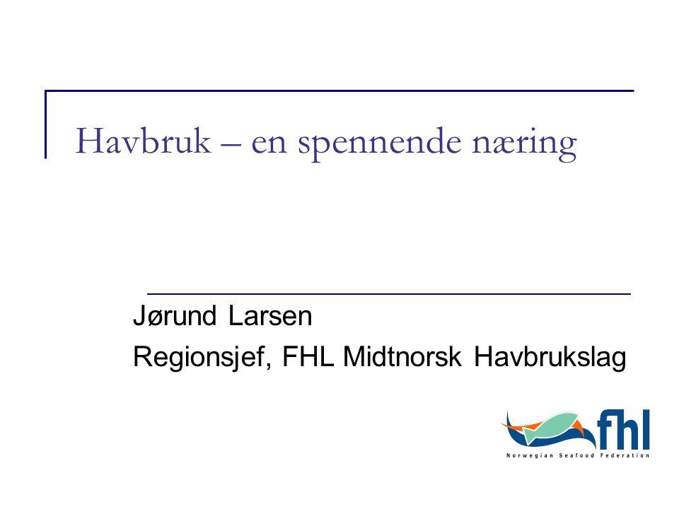 Havbruk – en spennende næring Jørund Larsen Regionsjef, FHL Midtnorsk Havbrukslag