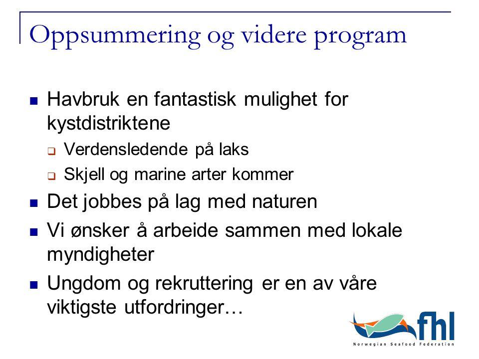 Oppsummering og videre program Havbruk en fantastisk mulighet for kystdistriktene  Verdensledende på laks  Skjell og marine arter kommer Det jobbes
