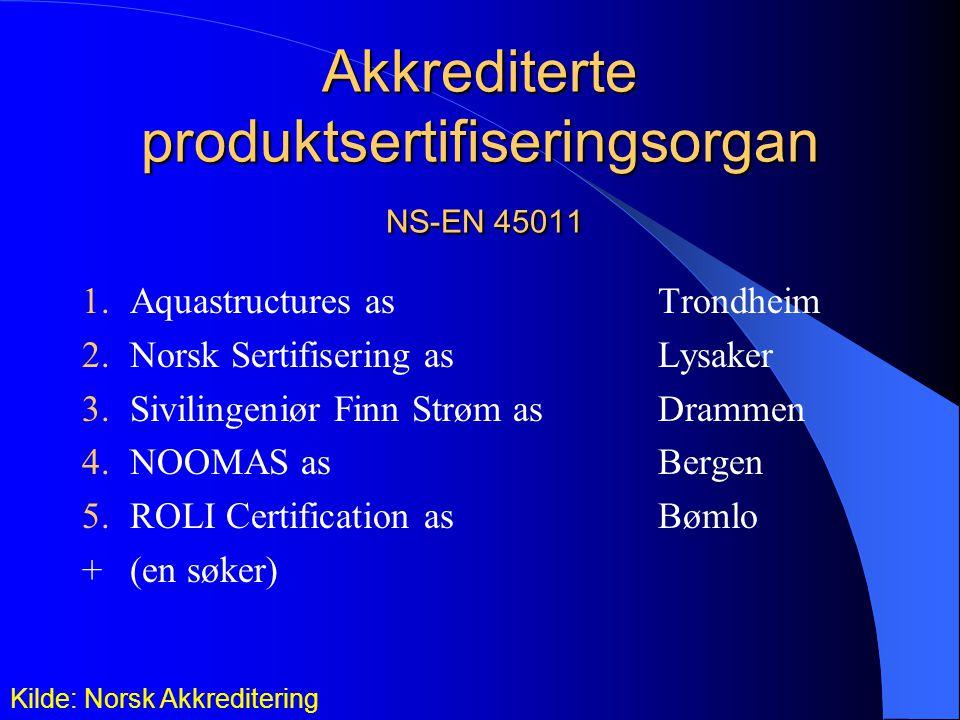 Akkrediterte produktsertifiseringsorgan NS-EN 45011 1.Aquastructures asTrondheim 2.Norsk Sertifisering as Lysaker 3.Sivilingeniør Finn Strøm asDrammen 4.NOOMAS as Bergen 5.ROLI Certification asBømlo +(en søker) Kilde: Norsk Akkreditering