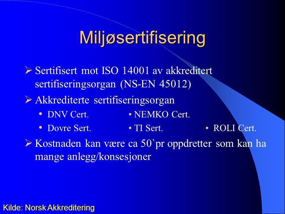 Miljøsertifisering  Sertifisert mot ISO 14001 av akkreditert sertifiseringsorgan (NS-EN 45012)  Akkrediterte sertifiseringsorgan DNV Cert.
