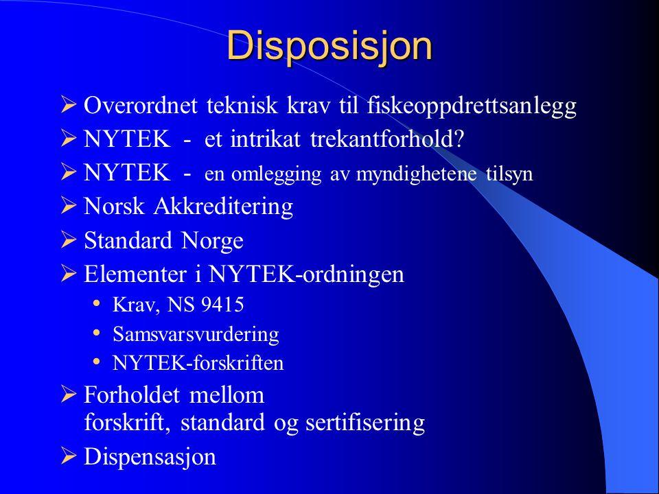 Disposisjon  Overordnet teknisk krav til fiskeoppdrettsanlegg  NYTEK - et intrikat trekantforhold.