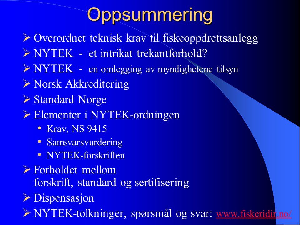 Oppsummering  Overordnet teknisk krav til fiskeoppdrettsanlegg  NYTEK - et intrikat trekantforhold.
