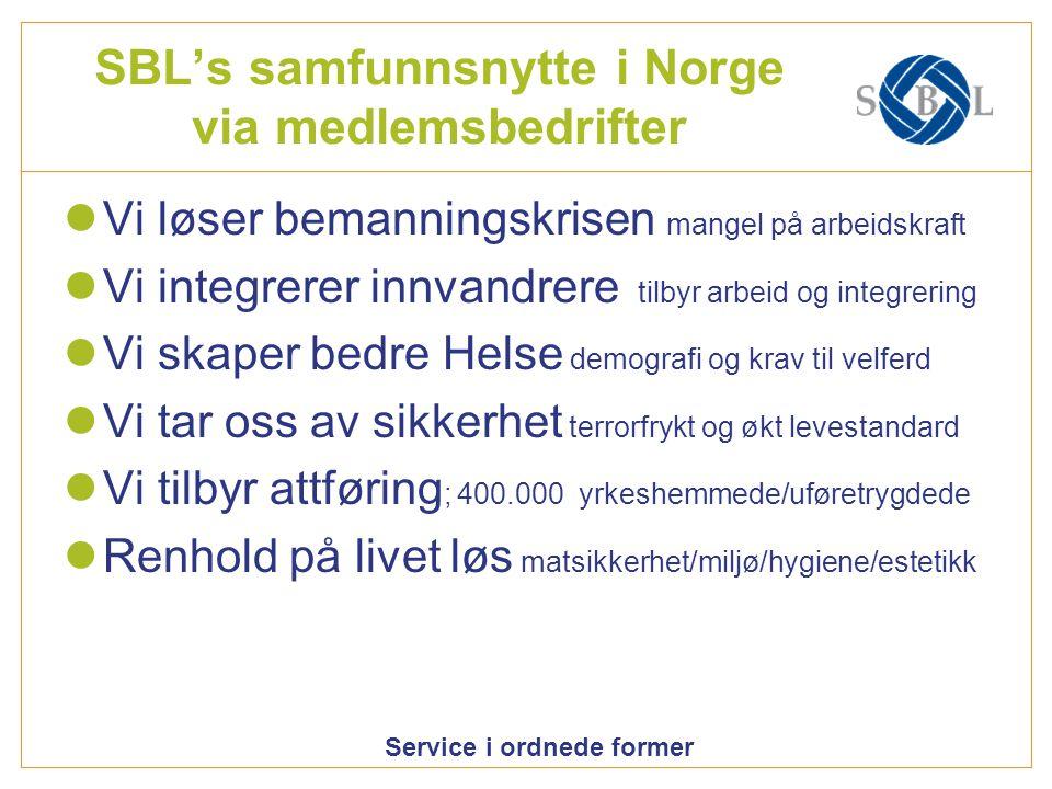 Service i ordnede former SBL's samfunnsnytte i Norge via medlemsbedrifter Vi løser bemanningskrisen mangel på arbeidskraft Vi integrerer innvandrere t