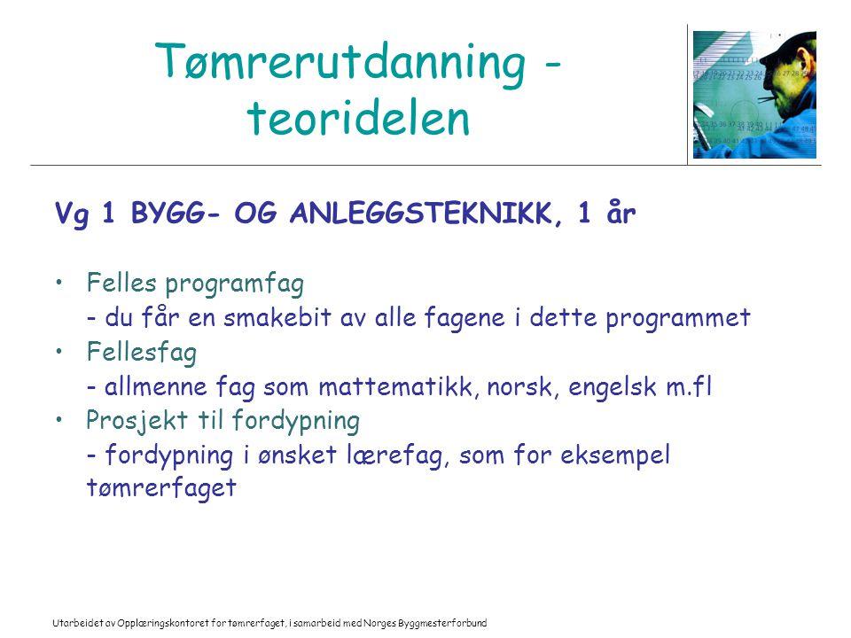 Utarbeidet av Opplæringskontoret for tømrerfaget, i samarbeid med Norges Byggmesterforbund Tømrerutdanning - teoridelen Vg 1 BYGG- OG ANLEGGSTEKNIKK,