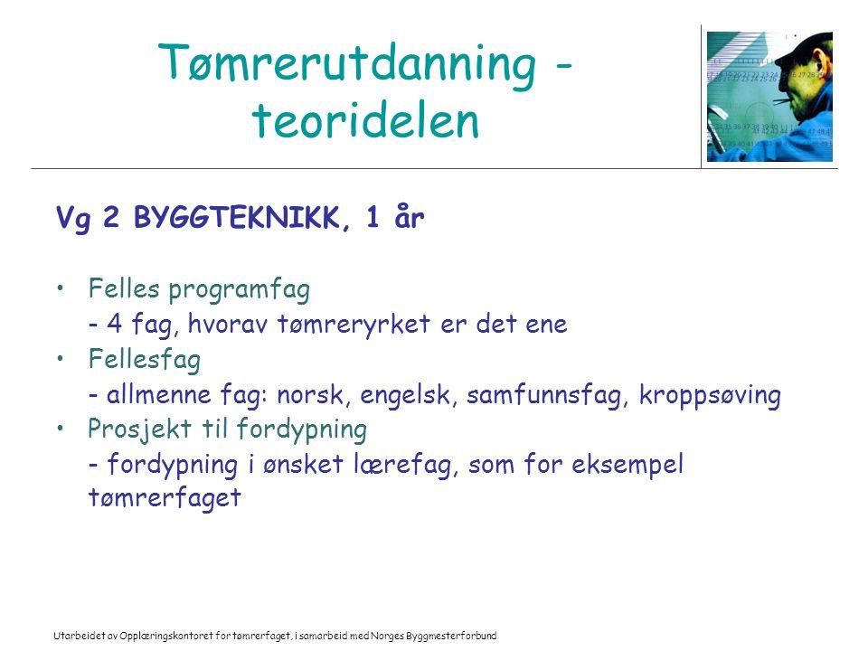 Utarbeidet av Opplæringskontoret for tømrerfaget, i samarbeid med Norges Byggmesterforbund Tømrerutdanning - teoridelen Vg 2 BYGGTEKNIKK, 1 år Felles