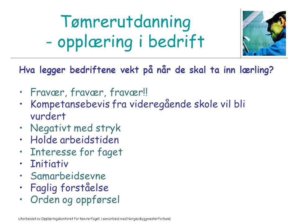 Utarbeidet av Opplæringskontoret for tømrerfaget, i samarbeid med Norges Byggmesterforbund Tømrerutdanning - opplæring i bedrift Hva legger bedriftene