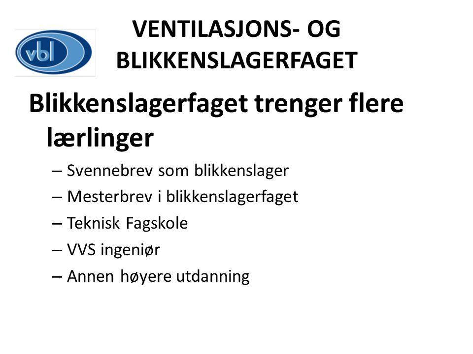 VENTILASJONS- OG BLIKKENSLAGERFAGET Blikkenslagerfaget trenger flere lærlinger – Svennebrev som blikkenslager – Mesterbrev i blikkenslagerfaget – Tekn