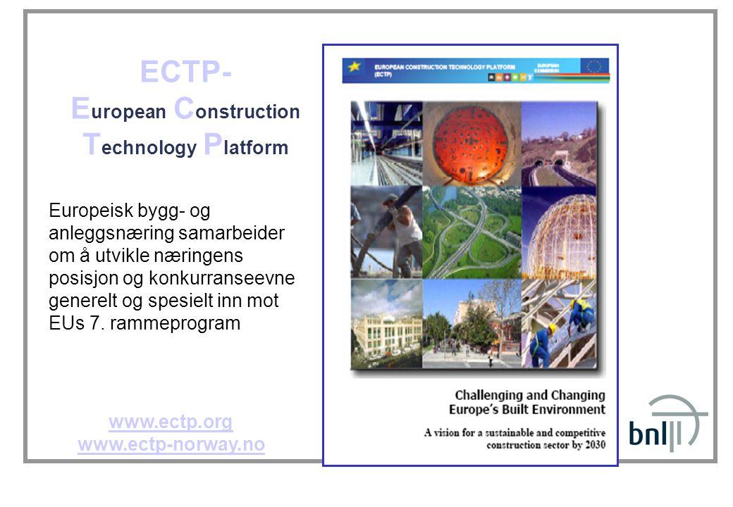 ECTP- E uropean C onstruction T echnology P latform www.ectp.org www.ectp-norway.no Europeisk bygg- og anleggsnæring samarbeider om å utvikle næringen