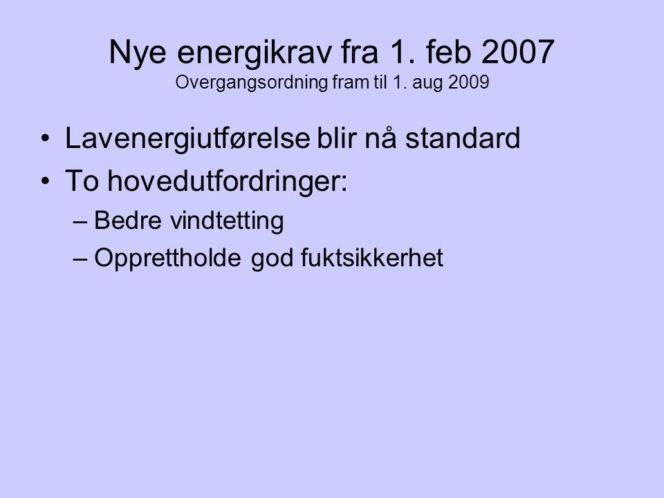 Fordeling av lekkasjetall i nye boliger Nytt snitt 1,5 h -1 ?