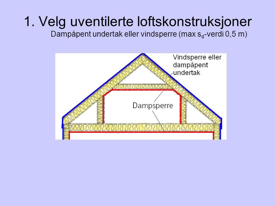 1. Velg uventilerte loftskonstruksjoner Dampåpent undertak eller vindsperre (max s d -verdi 0,5 m)