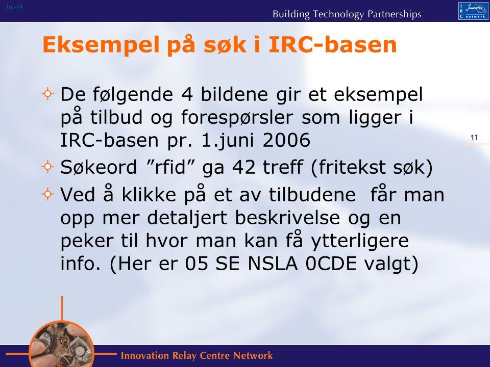 11 Jul-14 Eksempel på søk i IRC-basen De følgende 4 bildene gir et eksempel på tilbud og forespørsler som ligger i IRC-basen pr.