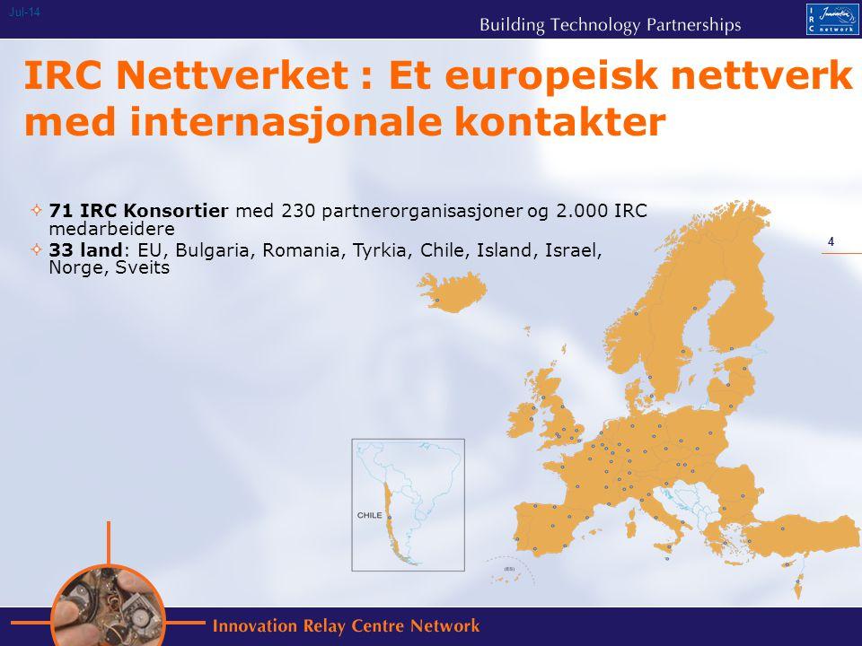 4 Jul-14 IRC Nettverket : Et europeisk nettverk med internasjonale kontakter 71 IRC Konsortier med 230 partnerorganisasjoner og 2.000 IRC medarbeidere 33 land: EU, Bulgaria, Romania, Tyrkia, Chile, Island, Israel, Norge, Sveits