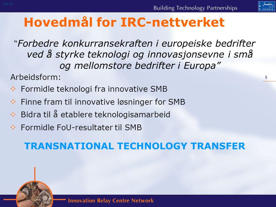 5 Jul-14 Hovedmål for IRC-nettverket Forbedre konkurransekraften i europeiske bedrifter ved å styrke teknologi og innovasjonsevne i små og mellomstore bedrifter i Europa Arbeidsform: Formidle teknologi fra innovative SMB Finne fram til innovative løsninger for SMB Bidra til å etablere teknologisamarbeid Formidle FoU-resultater til SMB TRANSNATIONAL TECHNOLOGY TRANSFER