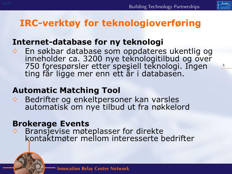 6 Jul-14 IRC-verktøy for teknologioverføring Internet-database for ny teknologi En søkbar database som oppdateres ukentlig og inneholder ca.