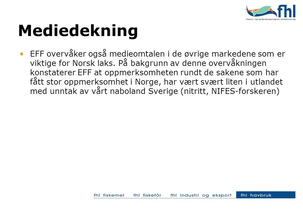 EFF overvåker også medieomtalen i de øvrige markedene som er viktige for Norsk laks.