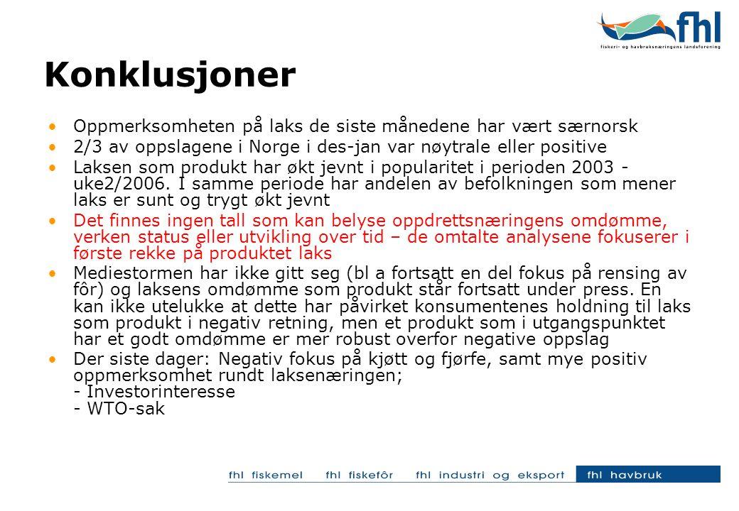 Oppmerksomheten på laks de siste månedene har vært særnorsk 2/3 av oppslagene i Norge i des-jan var nøytrale eller positive Laksen som produkt har økt jevnt i popularitet i perioden 2003 - uke2/2006.