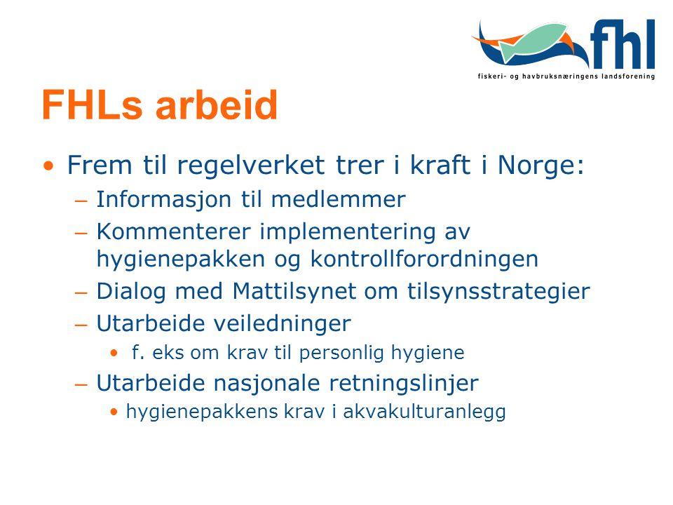 FHLs arbeid Frem til regelverket trer i kraft i Norge: – Informasjon til medlemmer – Kommenterer implementering av hygienepakken og kontrollforordning