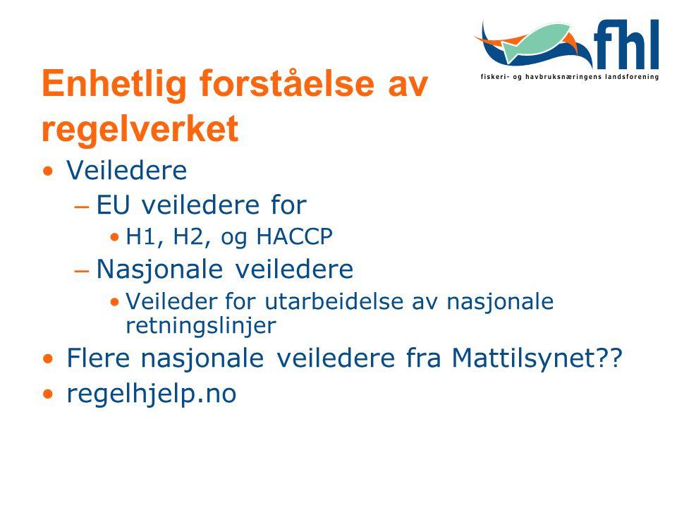 Enhetlig forståelse av regelverket Veiledere – EU veiledere for H1, H2, og HACCP – Nasjonale veiledere Veileder for utarbeidelse av nasjonale retnings