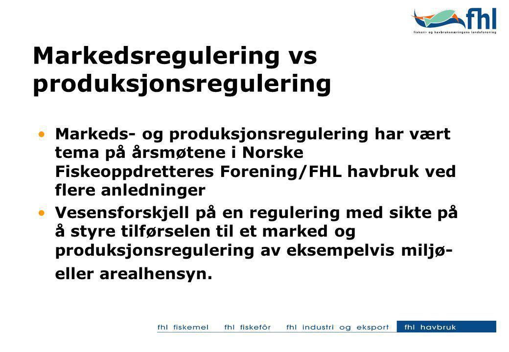 Begrenset handlingsrom for næringen Den sittende regjeringen akter ikke å delta i arbeidet med regulering av tilførselen til markedet; avviklingen av fôrkvoteregimet er et klart uttrykk for dette Mulighetene for næringen er begrenset som følge av en streng konkurranselovgivning i blant annet Norge og EU; men muligheter finnes