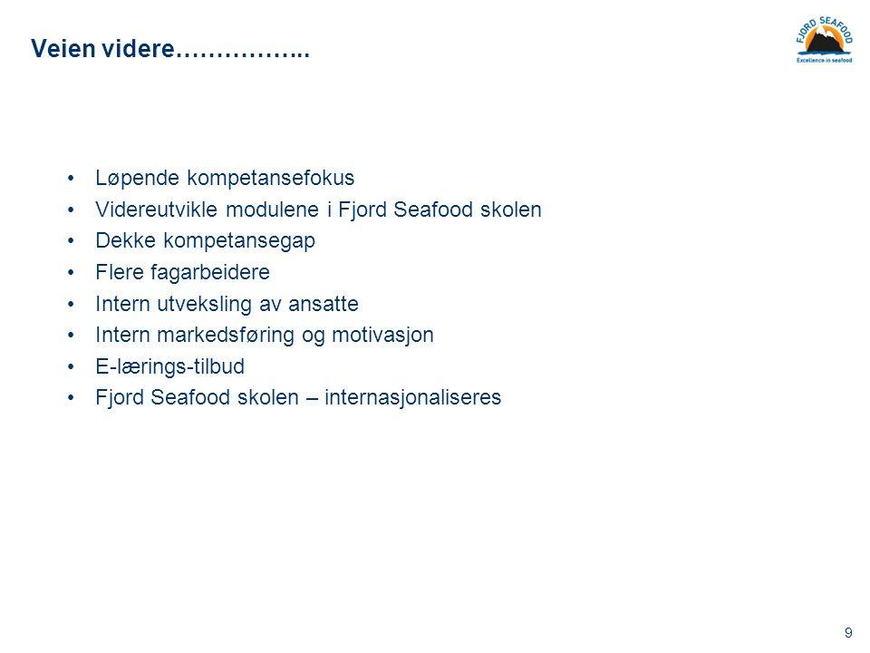 9 Veien videre…………….. Løpende kompetansefokus Videreutvikle modulene i Fjord Seafood skolen Dekke kompetansegap Flere fagarbeidere Intern utveksling a