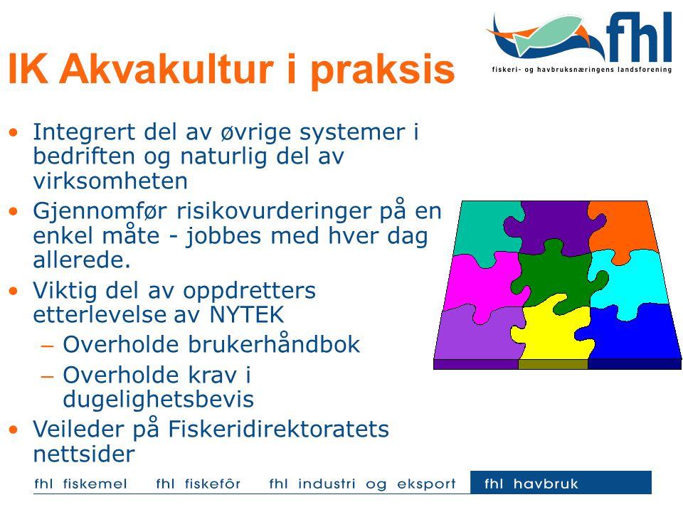 IK Akvakultur i praksis Integrert del av øvrige systemer i bedriften og naturlig del av virksomheten Gjennomfør risikovurderinger på en enkel måte - j
