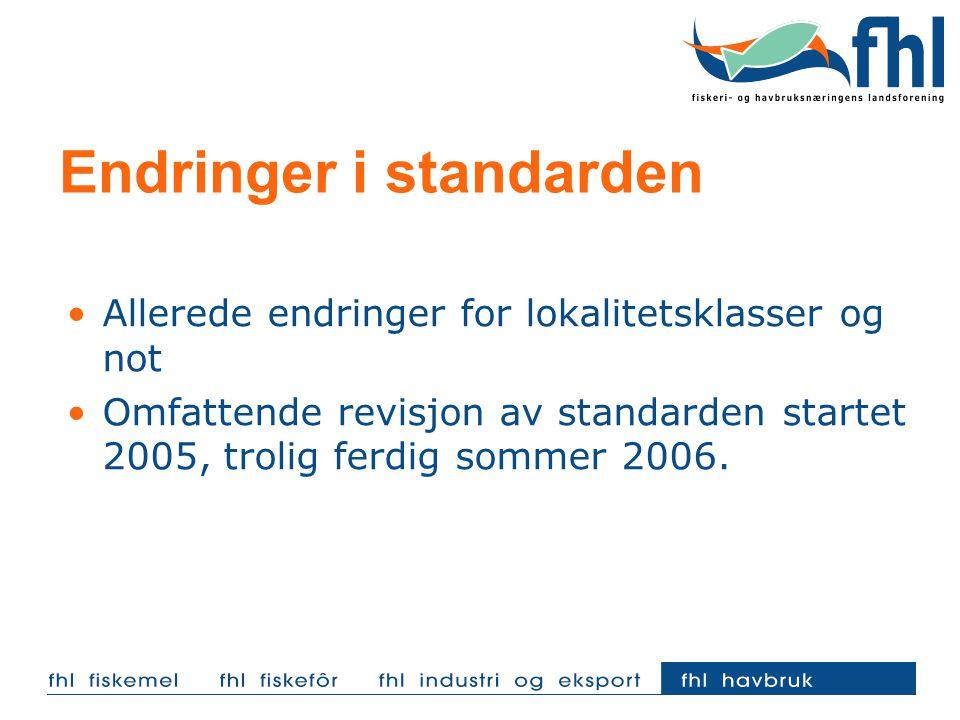 Endringer i standarden Allerede endringer for lokalitetsklasser og not Omfattende revisjon av standarden startet 2005, trolig ferdig sommer 2006.