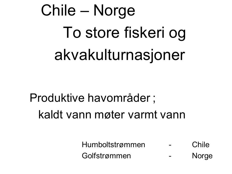 Chile – Norge To store fiskeri og akvakulturnasjoner Produktive havområder ; kaldt vann møter varmt vann Humboltstrømmen -Chile Golfstrømmen-Norge