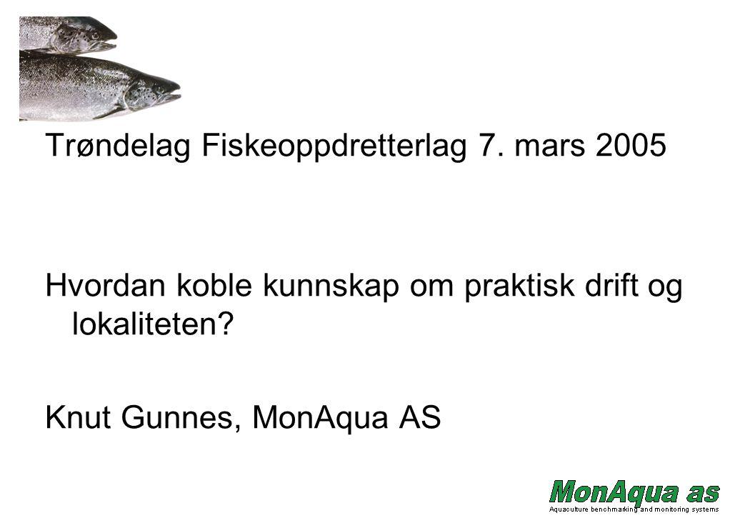 Trøndelag Fiskeoppdretterlag 7. mars 2005 Hvordan koble kunnskap om praktisk drift og lokaliteten? Knut Gunnes, MonAqua AS
