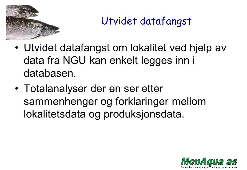Utvidet datafangst Utvidet datafangst om lokalitet ved hjelp av data fra NGU kan enkelt legges inn i databasen. Totalanalyser der en ser etter sammenh