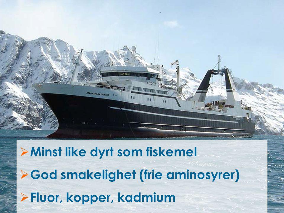  Minst like dyrt som fiskemel  God smakelighet (frie aminosyrer)  Fluor, kopper, kadmium
