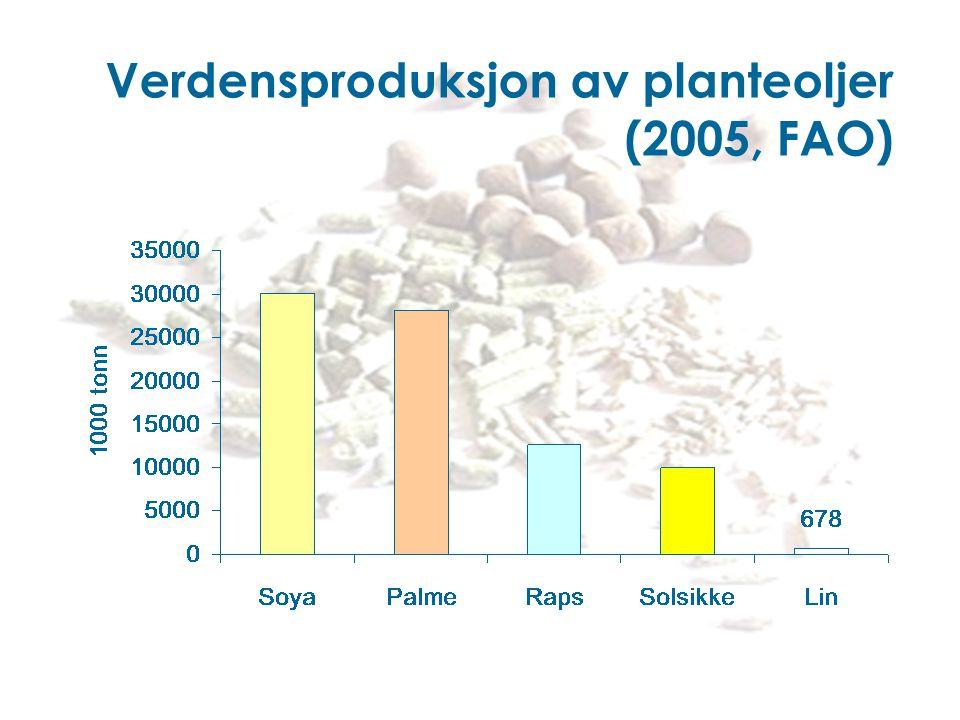 Verdensproduksjon av planteoljer (2005, FAO)