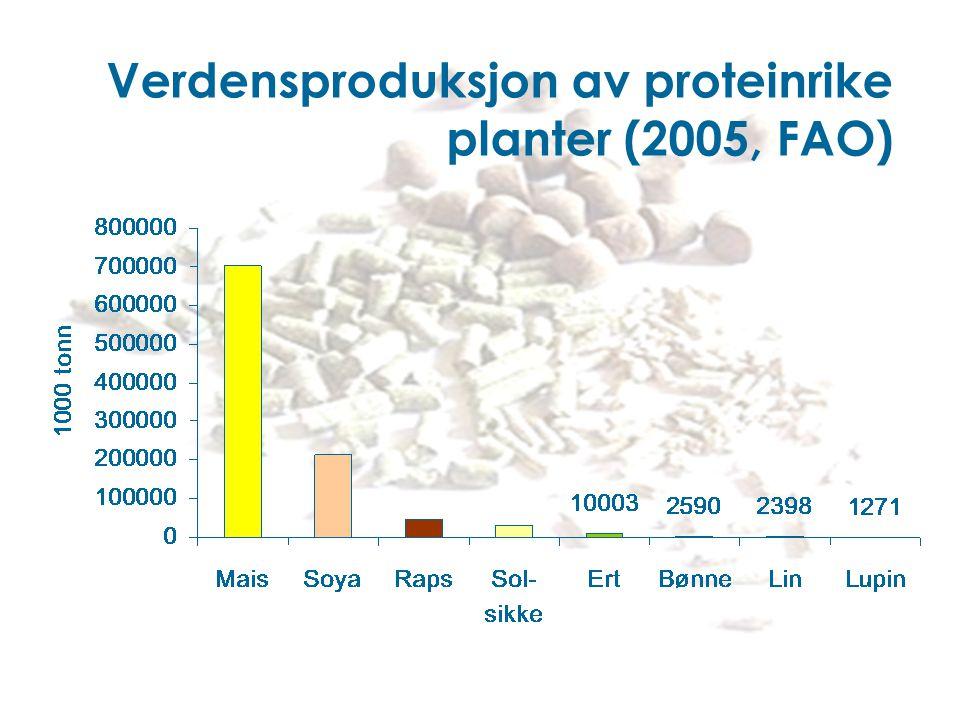 Verdensproduksjon av proteinrike planter (2005, FAO)