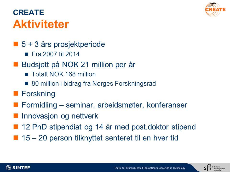 CREATE Aktiviteter 5 + 3 års prosjektperiode Fra 2007 til 2014 Budsjett på NOK 21 million per år Totalt NOK 168 million 80 million i bidrag fra Norges