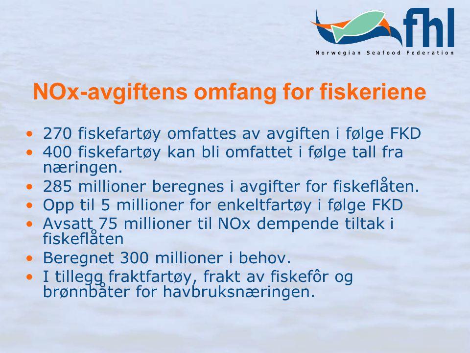 NOx-avgiftens omfang for fiskeriene 270 fiskefartøy omfattes av avgiften i følge FKD 400 fiskefartøy kan bli omfattet i følge tall fra næringen.
