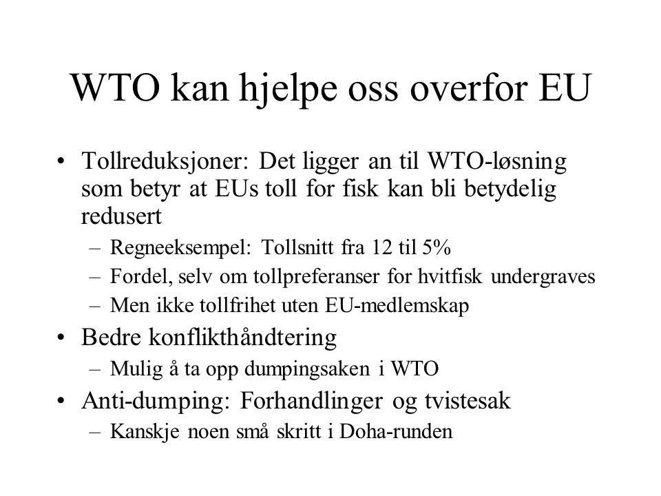 WTO kan hjelpe oss overfor EU Tollreduksjoner: Det ligger an til WTO-løsning som betyr at EUs toll for fisk kan bli betydelig redusert –Regneeksempel:
