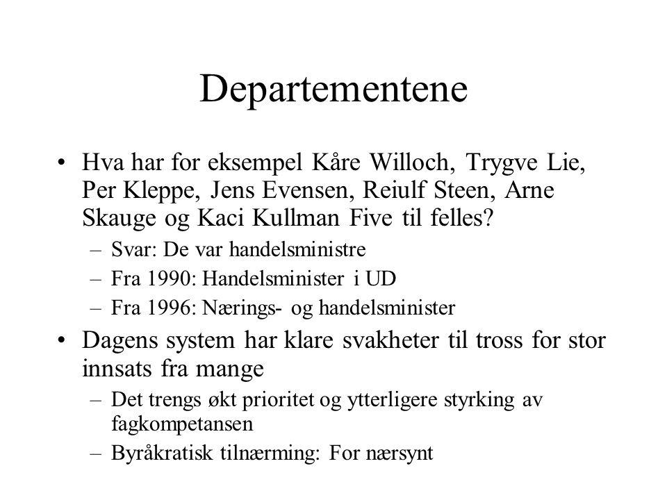 Departementene Hva har for eksempel Kåre Willoch, Trygve Lie, Per Kleppe, Jens Evensen, Reiulf Steen, Arne Skauge og Kaci Kullman Five til felles? –Sv