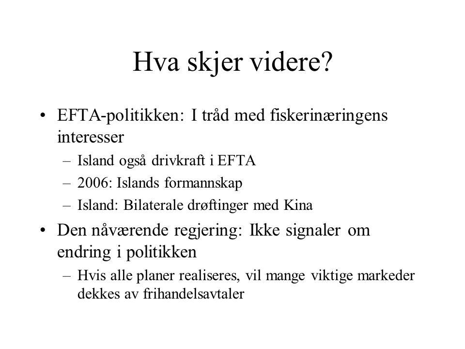 Hva skjer videre? EFTA-politikken: I tråd med fiskerinæringens interesser –Island også drivkraft i EFTA –2006: Islands formannskap –Island: Bilaterale