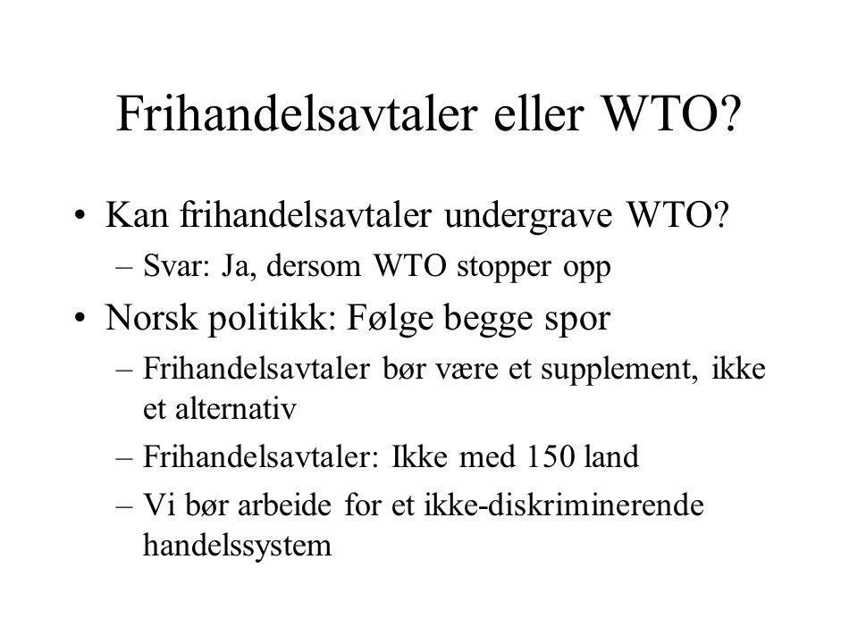 Frihandelsavtaler eller WTO? Kan frihandelsavtaler undergrave WTO? –Svar: Ja, dersom WTO stopper opp Norsk politikk: Følge begge spor –Frihandelsavtal