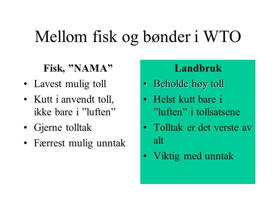 """Mellom fisk og bønder i WTO Fisk, """"NAMA"""" Lavest mulig toll Kutt i anvendt toll, ikke bare i """"luften"""" Gjerne tolltak Færrest mulig unntak Landbruk Beho"""