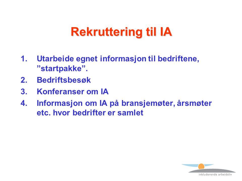 Rekruttering til IA 1.Utarbeide egnet informasjon til bedriftene, startpakke .