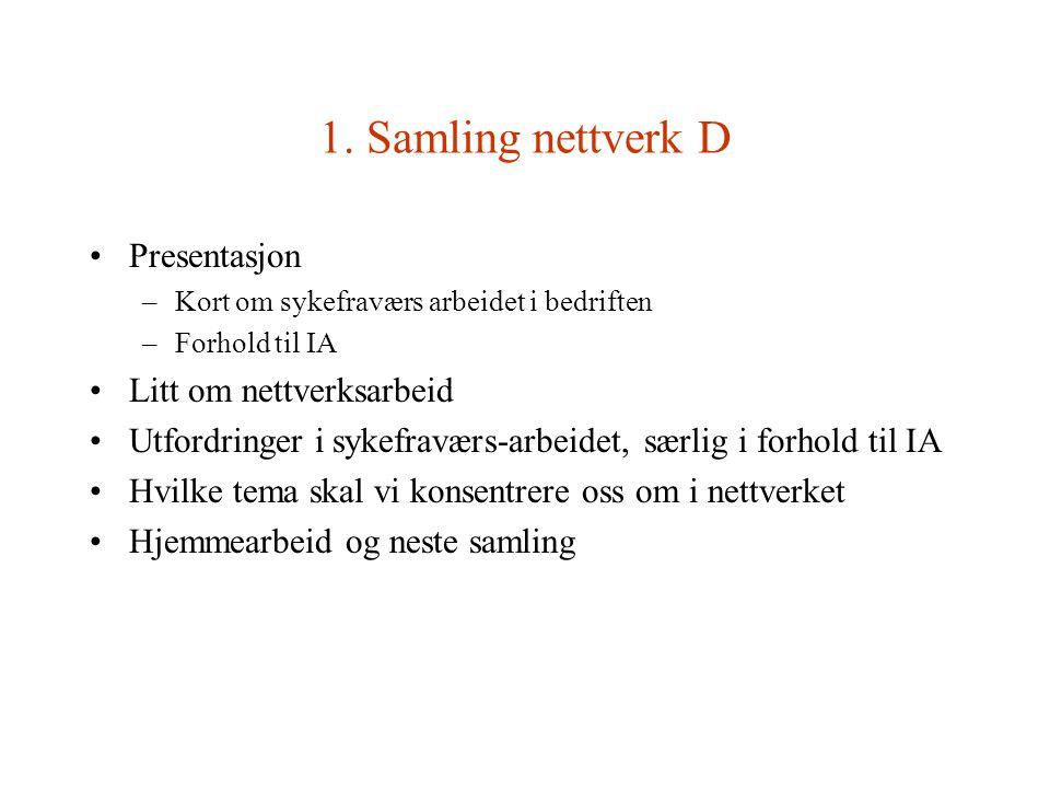 1. Samling nettverk D Presentasjon –Kort om sykefraværs arbeidet i bedriften –Forhold til IA Litt om nettverksarbeid Utfordringer i sykefraværs-arbeid