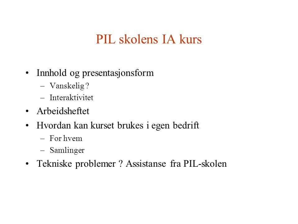 PIL skolens IA kurs Innhold og presentasjonsform –Vanskelig .