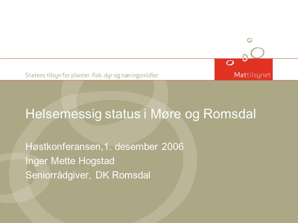 Helsestatus i Møre og Romsdal Status for Pankreas Disease Forvaltning av Pankreas Disease Sjukdom og medisinforbruk hos marin fisk Høy dødelighet i oppdrettsanleggene Lakselus Piscirickettsiose