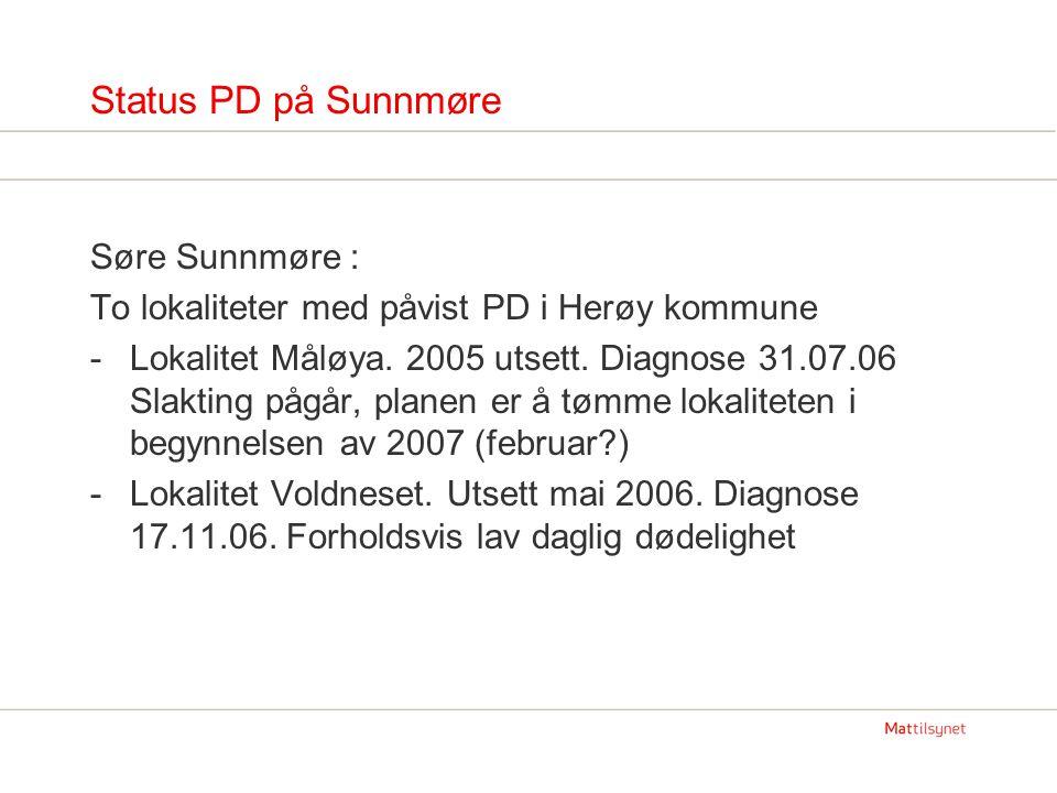Status PD på Sunnmøre Søre Sunnmøre : To lokaliteter med påvist PD i Herøy kommune -Lokalitet Måløya. 2005 utsett. Diagnose 31.07.06 Slakting pågår, p