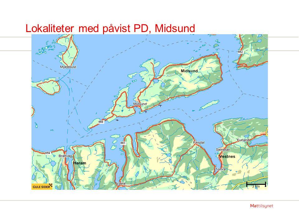 PD status Møre og Romsdal Totalt fem lokaliteter med diagnosen PD, fordelt på to områder.