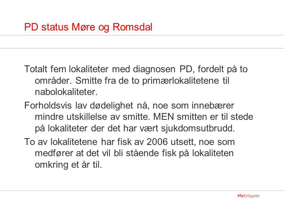 PD status Møre og Romsdal Totalt fem lokaliteter med diagnosen PD, fordelt på to områder. Smitte fra de to primærlokalitetene til nabolokaliteter. For